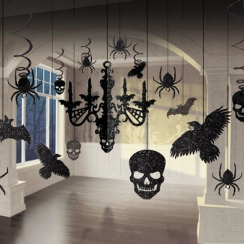Black Glitter Chandelier & Hanging Halloween Room Decorations 17 Pack Party Accessory