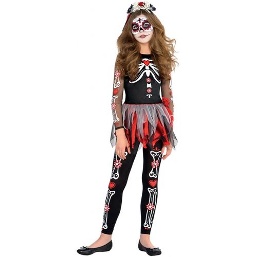 Girls Day of the Dead Halloween Fancy Dress Costume Teen Size Age 12-14 Years