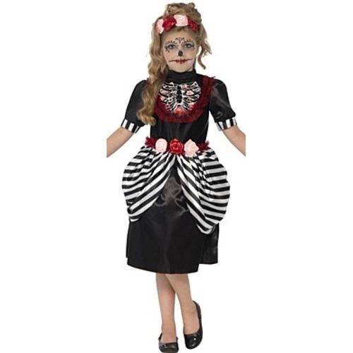 Childs Day of the Dead Sugar Skull Halloween Fancy Dress Costume Age 7-9 Years