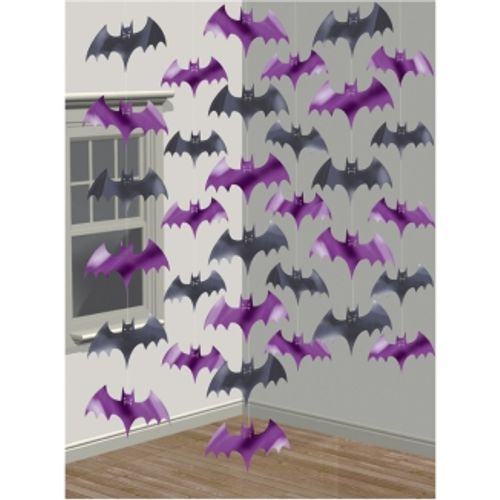 Black & Purple Bat Hanging String Room Decoration Halloween Party Accessory