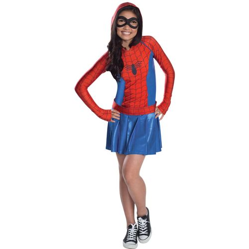 Childs Spider-Girl Hoodie Dress Fancy Dress Costume Age 10-12 Years