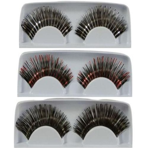 False Eye Lashes 3 Pack of Mixed Colours Fanccy Dress Make Up Costume Accessory