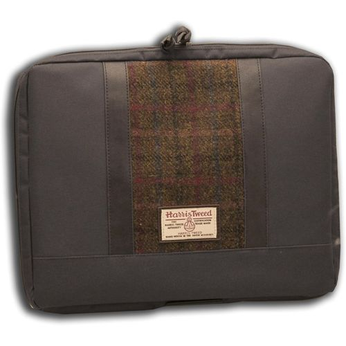 Harris Tweed Laptop Bag: Green/Brown Check Tartan