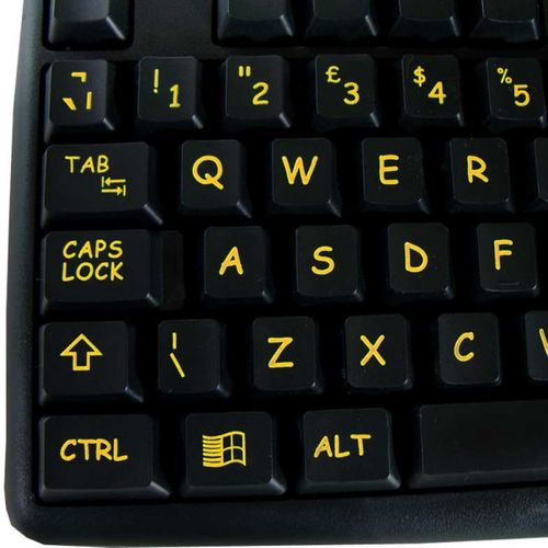 Visually Impaired Keyboard (Hi Vis Black & Yellow)