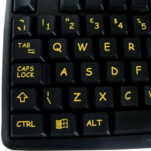 Visually Impaired Keyboard (Hi Vis Black & Yellow)