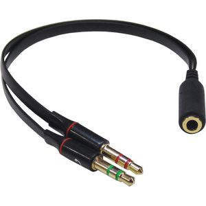 4 Pole (F) to 2 x 3.5mm (M) - Tablet to PC Connector
