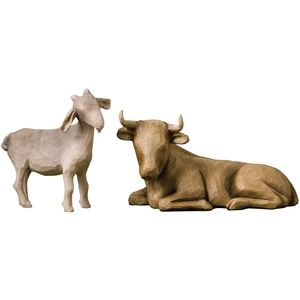 Willow Tree Nativity Ox and Goat Figurine Set