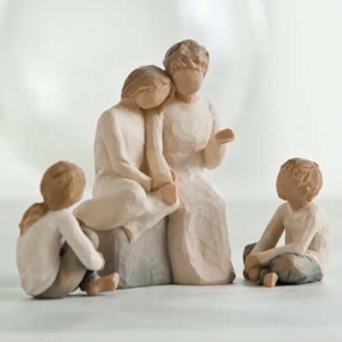 Willow Tree Grandmother with Three Grandchildren Figurine Set Option Two 26224 26226 26244
