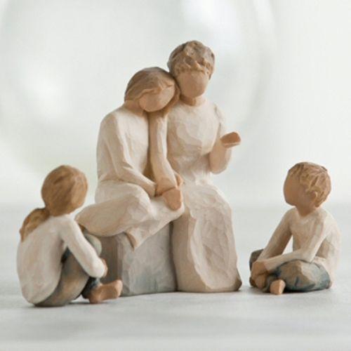 Willow Tree Grandmother with Three Grandchildren Figurine Set Option Two 26224 26226 26244
