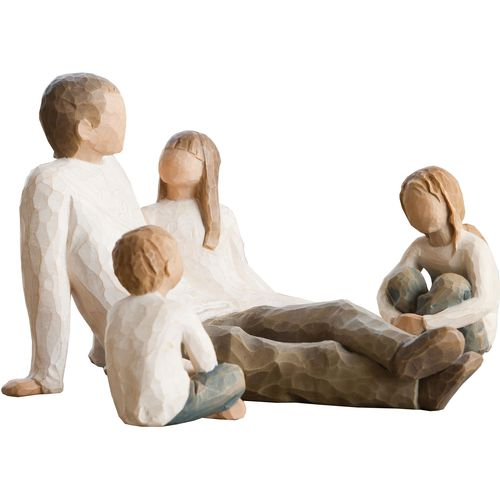Willow Tree Father with 2 Daughters & Son Figurine Set Option Two 26031 26226 26224
