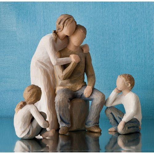 Willow Tree Mother & Father with Son & Daughter Figurine Set Option Two 26224 26227 26439