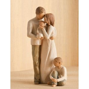Willow Tree Figurines Set Mother Father & Baby with Son