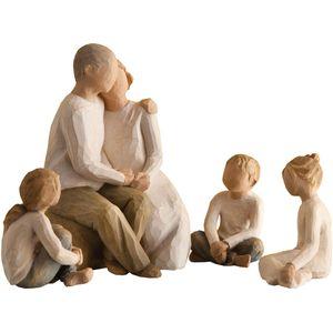 Willow Tree Figurines Set Grandparents with Three Grandchildren