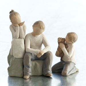 Willow Tree Figurines Set Siblings - Sister with Two Brothers & Pet Dog