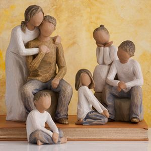 Willow Tree Figurines Set Mother & Father with Four Children