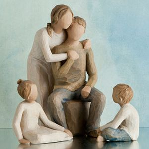 Willow Tree Figurines Set Mother & Father with Son & Daughter Option 4