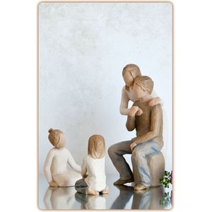 Willow Tree Figurines Set Mother & Father with Two Daughters