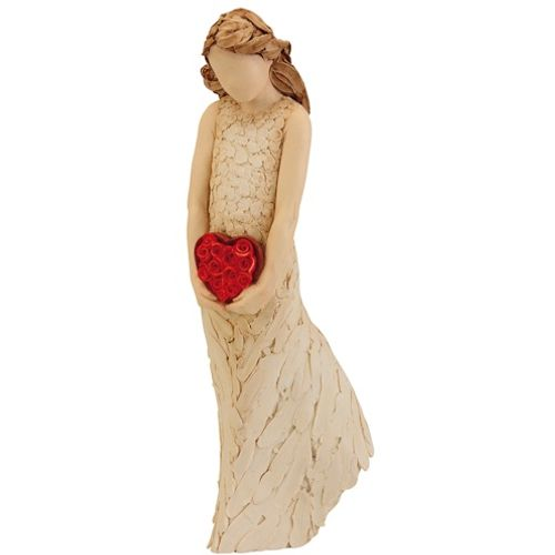 Arora Design Lady Figurine holding red heart More Than Words Figurine