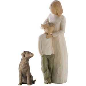Willow Tree Figurines Set Mother & Son with Pet Dog