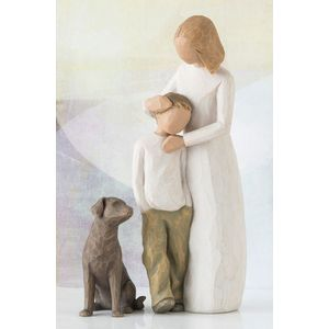Willow Tree Set Mother & Son with Pet Dog