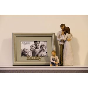 Willow Tree Figurines & Family Photo Frame Set - Mother Father Baby & Son