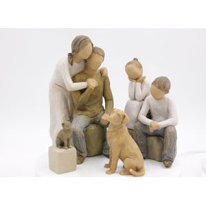Willow Tree Figurines Set Mum & Dad with Son & Daughter and Pet Dog & Cat
